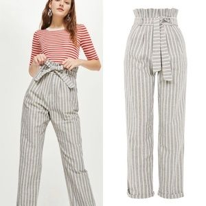 NWT TOPSHOP Belted Striped Tapered Leg Trousers